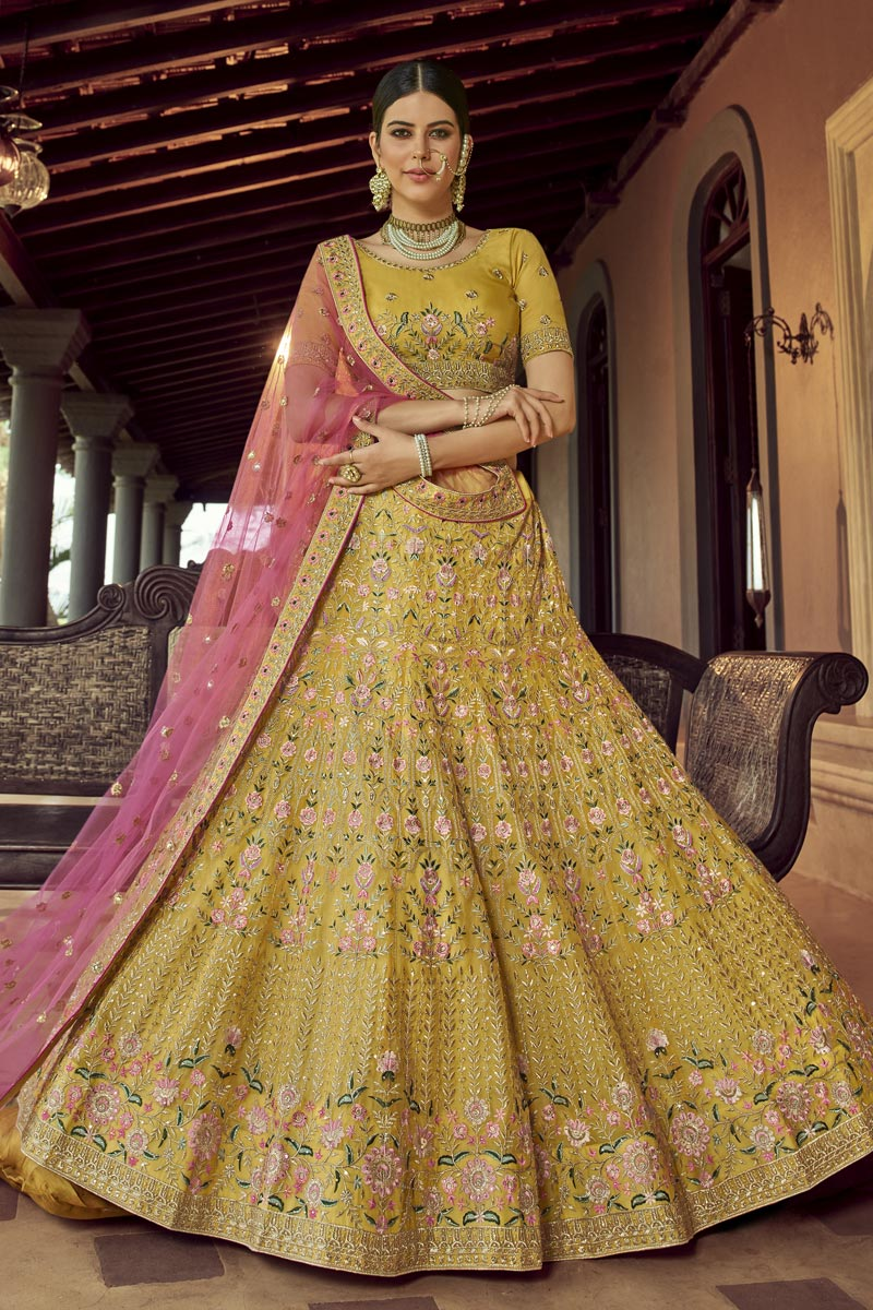 Trendy Yellow Color Organza Fabric Reception Wear Lehenga Choli