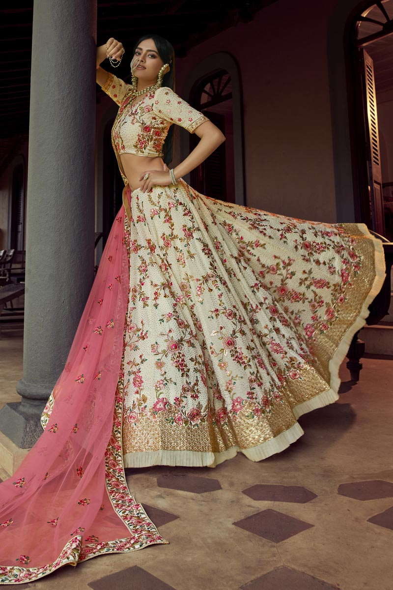 Sangeet Wear Beige Color Georgette Fabric Designer Lehenga Choli