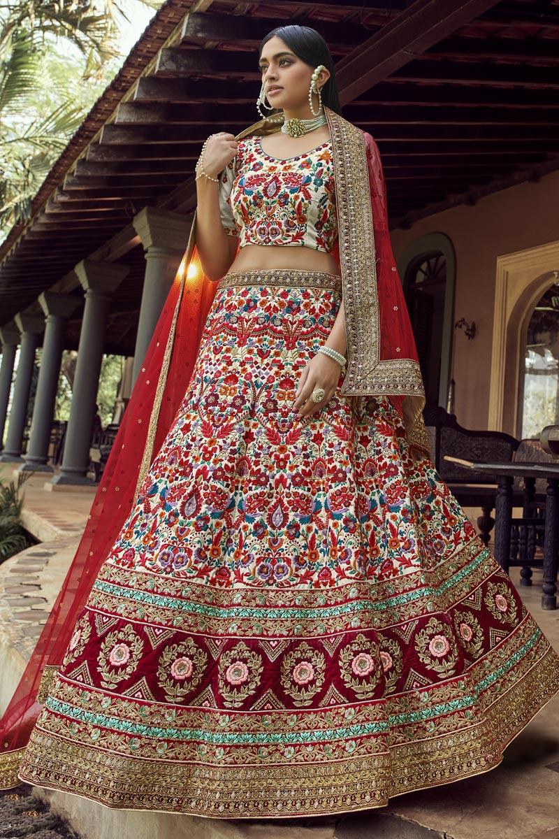 Art Silk Fabric Wedding Wear Lehenga Choli In Beige Color