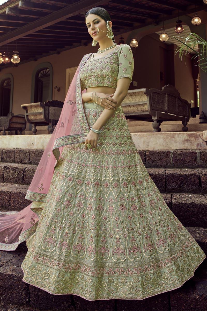 Sangeet Wear Lehenga Choli In Sea Green Color Georgette Fabric