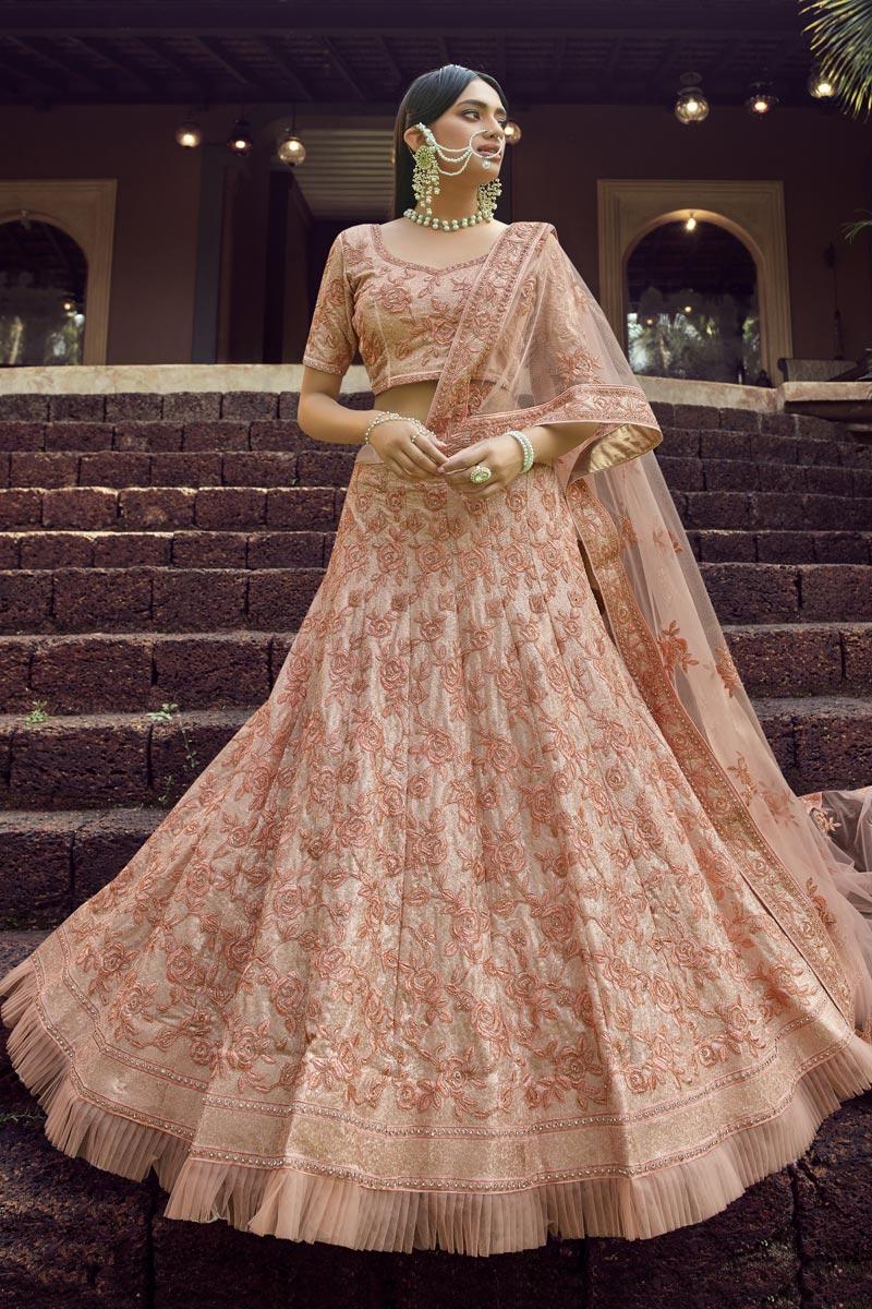 Peach Georgette Fabric Designer Wedding Wear Lehenga Choli