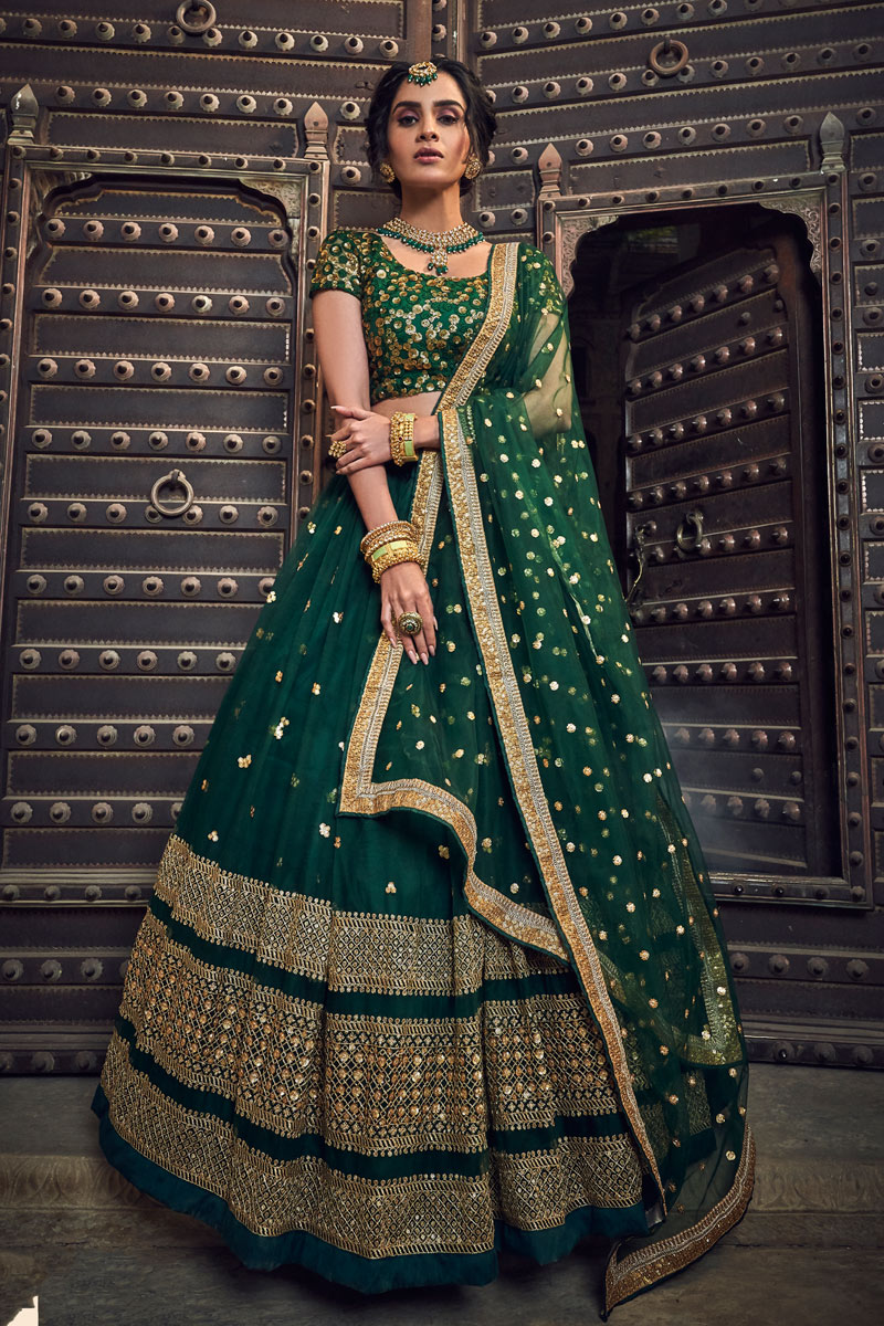 Eid Special Exclusive Dark Green Color Wedding Wear 3 Piece Lehenga In Net Fabric With Embroidery Work