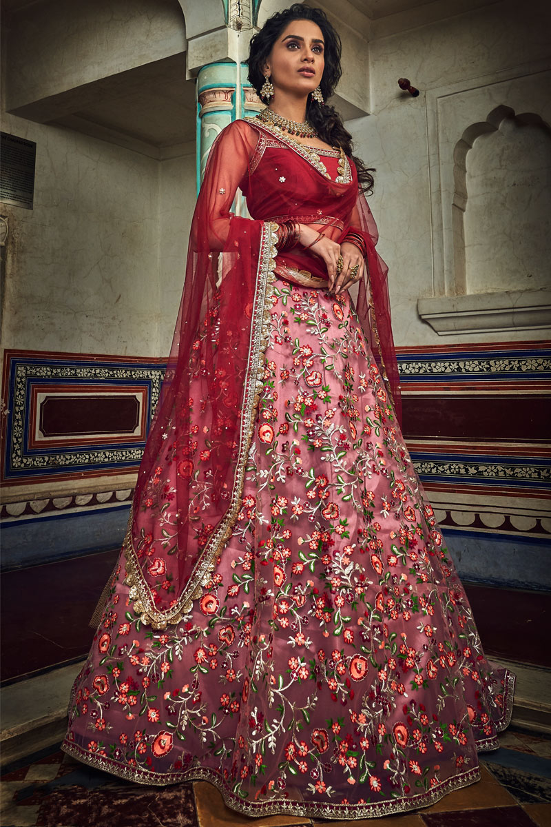 Eid Special Exclusive Art Silk Fabric Pink Color Reception Wear Lehenga Choli With Embroidery Work