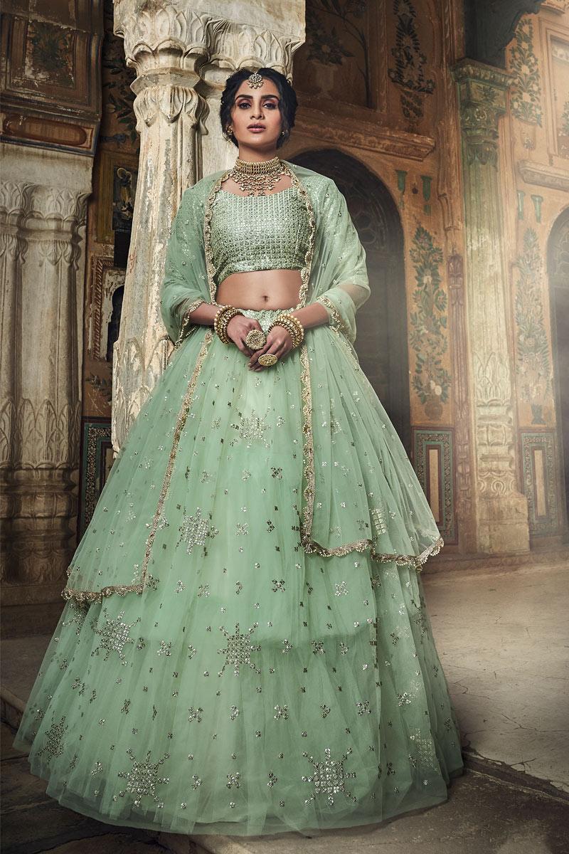 Exclusive Sea Green Color Art Silk Fabric Wedding Wear 3 Piece Lehenga Choli With Embroidery Work