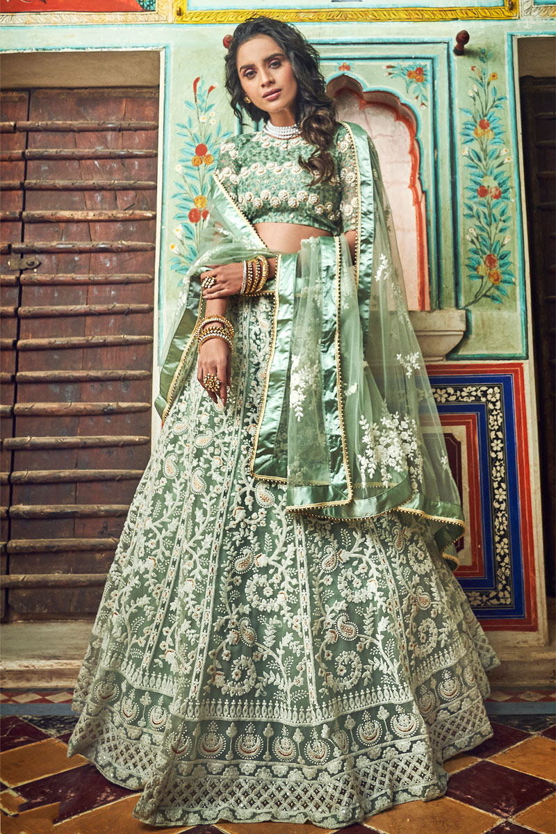 Exclusive Embroidered Net Fabric Sea Green Color Function Wear Lehenga Choli With Party Wear Blouse