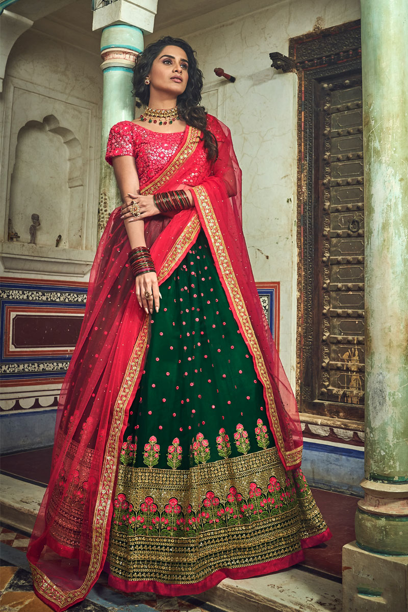 Eid Special Exclusive Dark Green Color Sangeet Wear Lehenga With Embroidery Work In Net Fabric