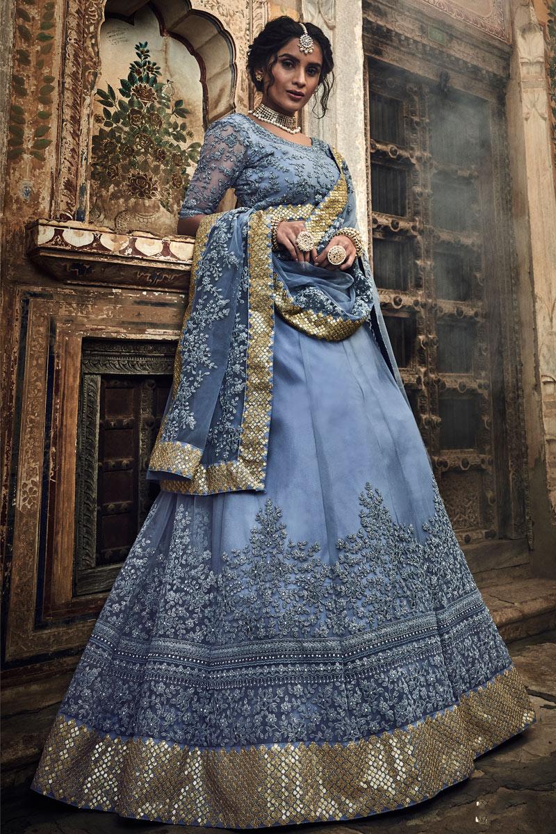 Exclusive Net Fabric Embroidery Work Designer Bridal Wear Grey Color Lehenga