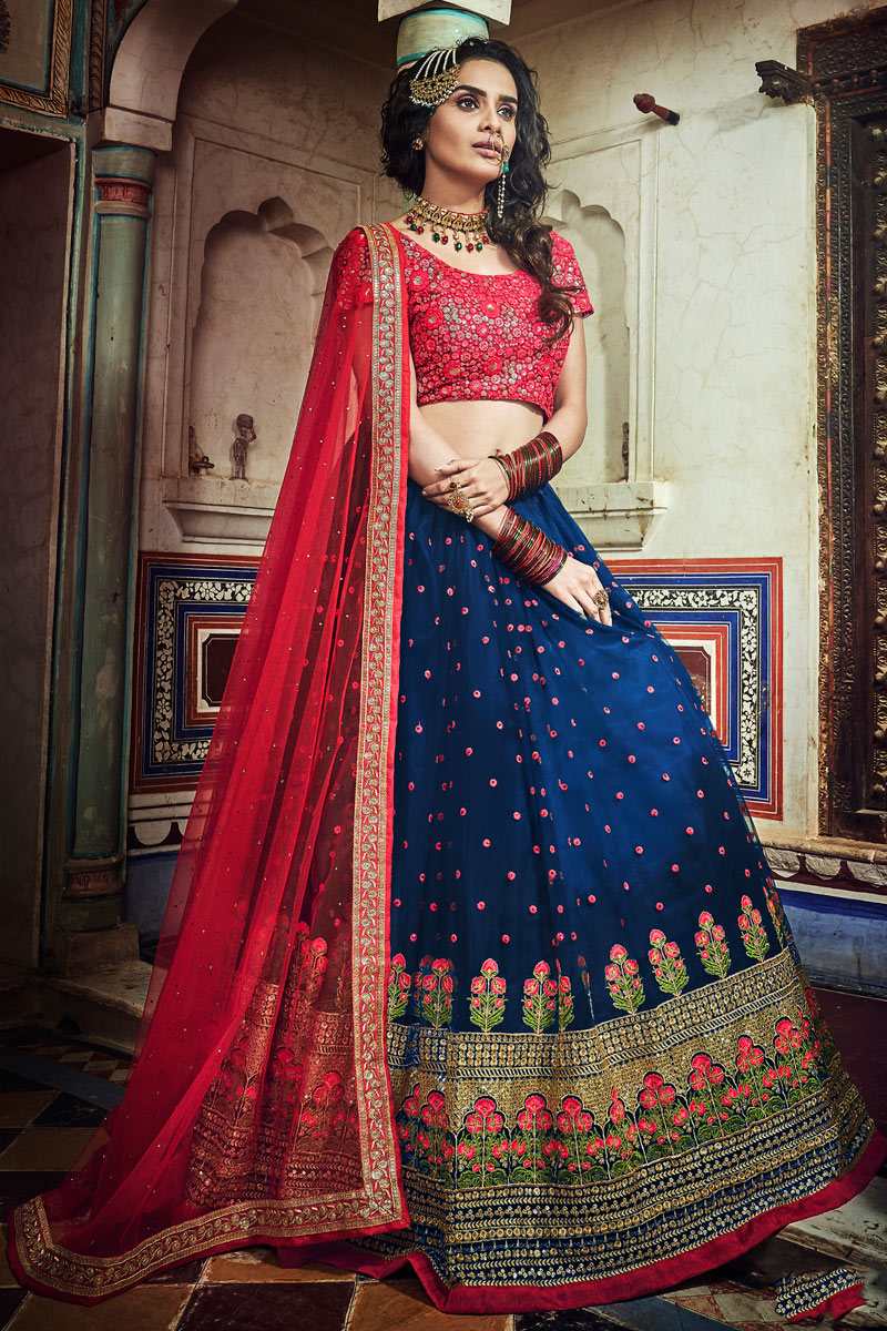 Exclusive Embroidery Work On Navy Blue Color Designer Lehenga In Net Fabric With Blouse