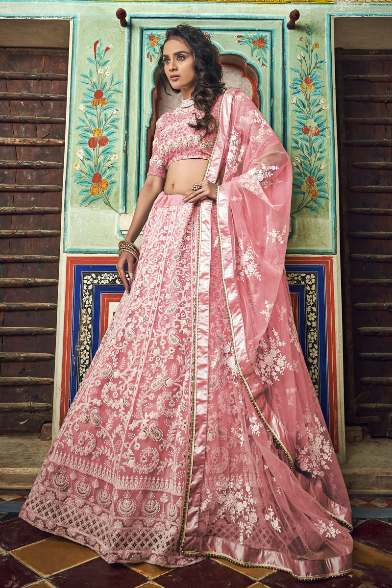 Exclusive Pink Color Wedding Wear 3 Piece Lehenga In Net Fabric With Embroidery Work