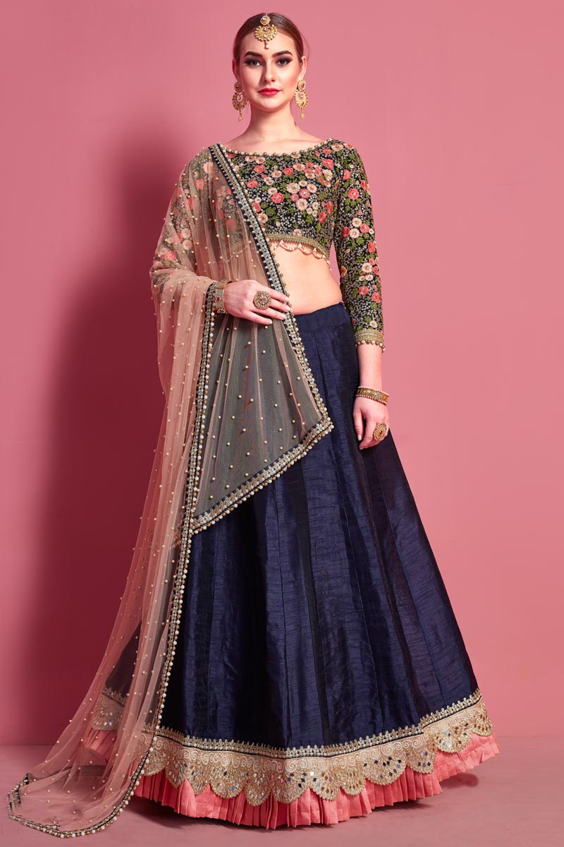 Embroidered Navy Blue Color Wedding Lehenga
