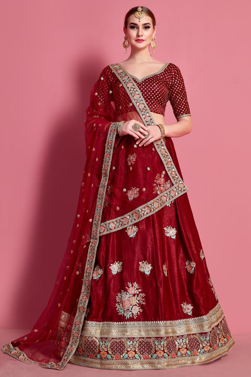 Velvet Silk Fabric Wedding Wear 3 Piece Lehenga
