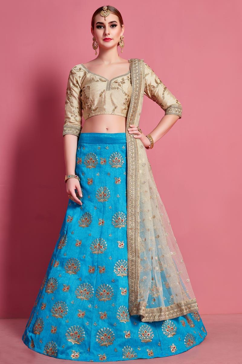 Sky Blue Color Art Silk Fabric Reception Wear Lehenga Choli