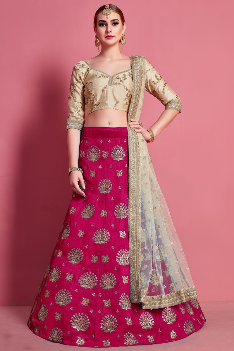 Art Silk Fabric Rani Color Wedding Wear 3 Piece Lehenga Choli
