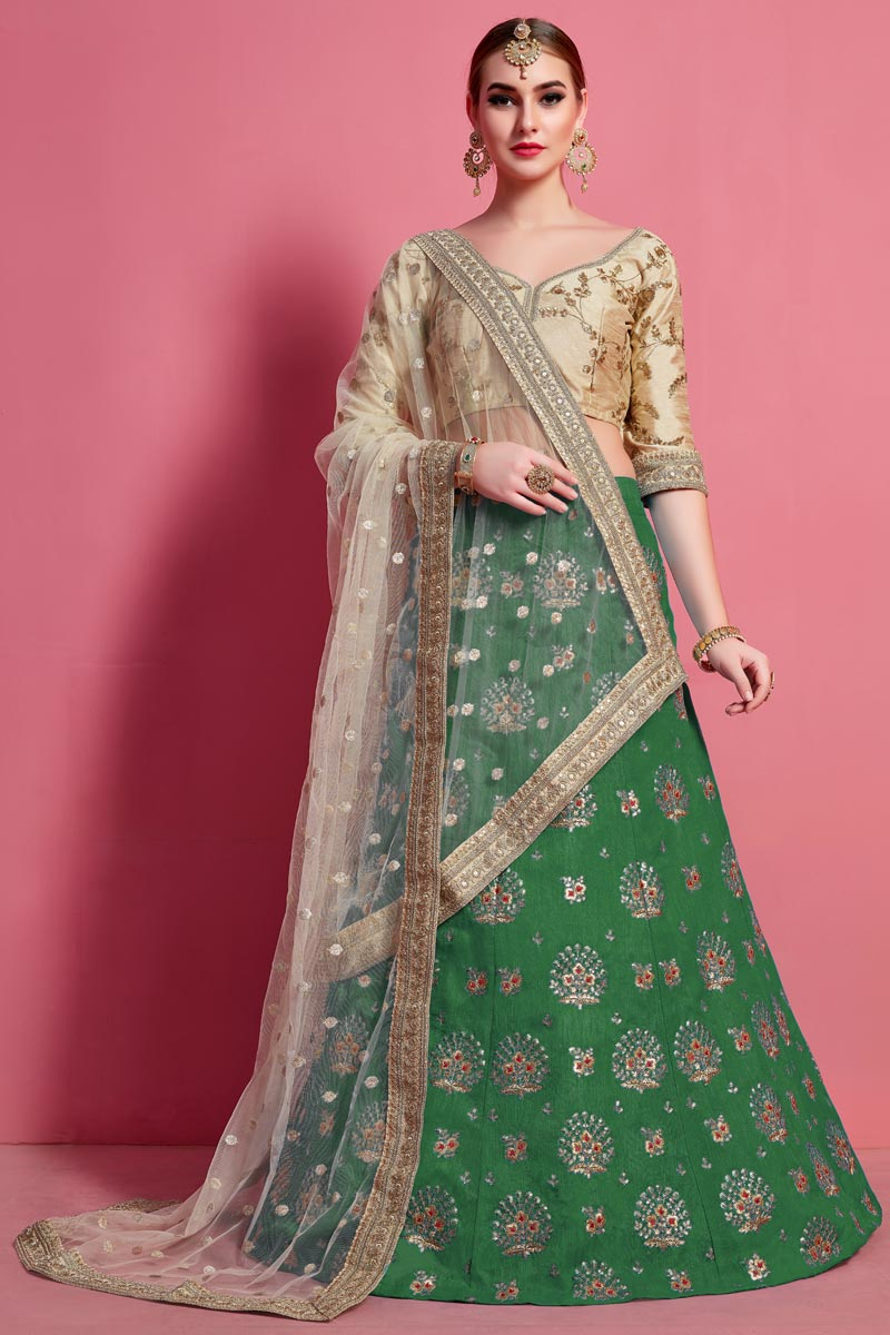 Green Color Designer Wedding Lehenga