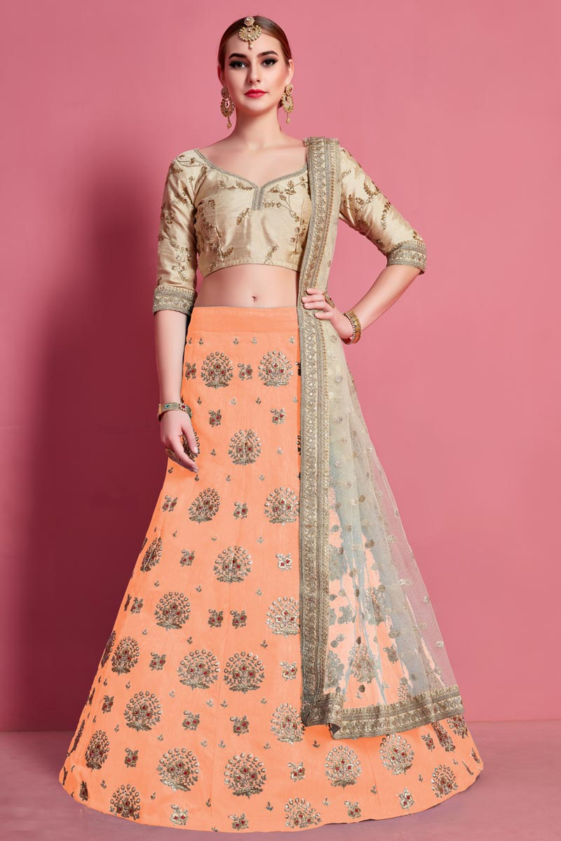Peach Color Art Silk Fabric Wedding Wear Lehenga Choli