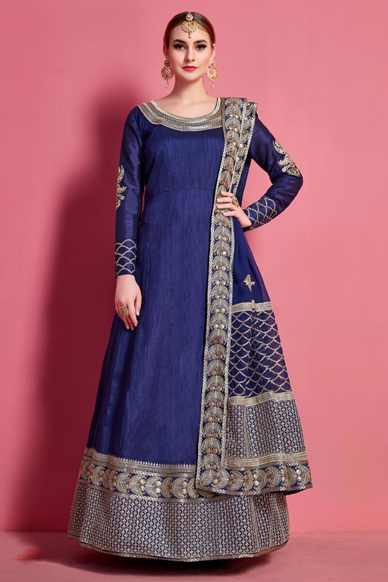 Fancy Embroidery Work Reception Wear Blue Color Anarkali Suit
