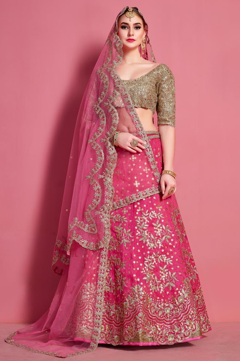 Embroidered Pink Color Designer 3 Piece Lehenga