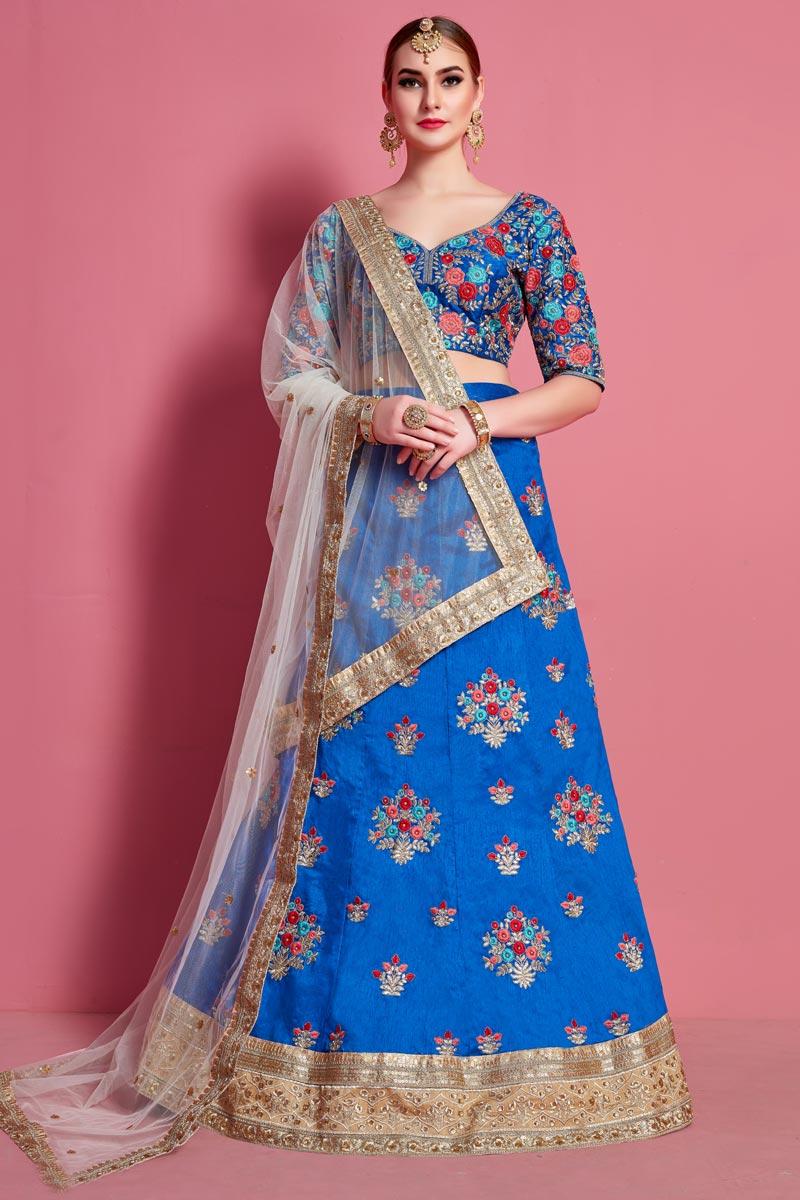 Sky Blue Color Art Silk Fabric Occasion Wear Lehenga Choli