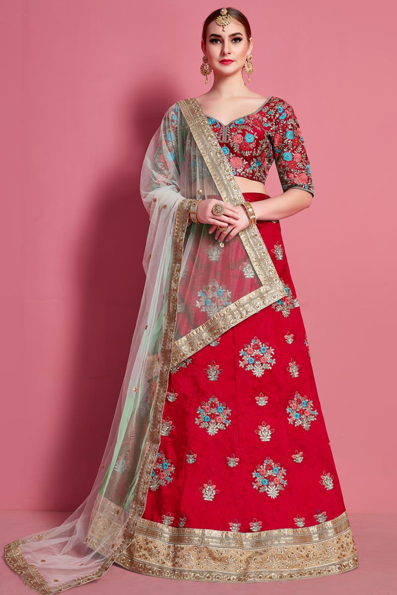 Occasion Wear Lehenga In Red Color Art Silk Fabric