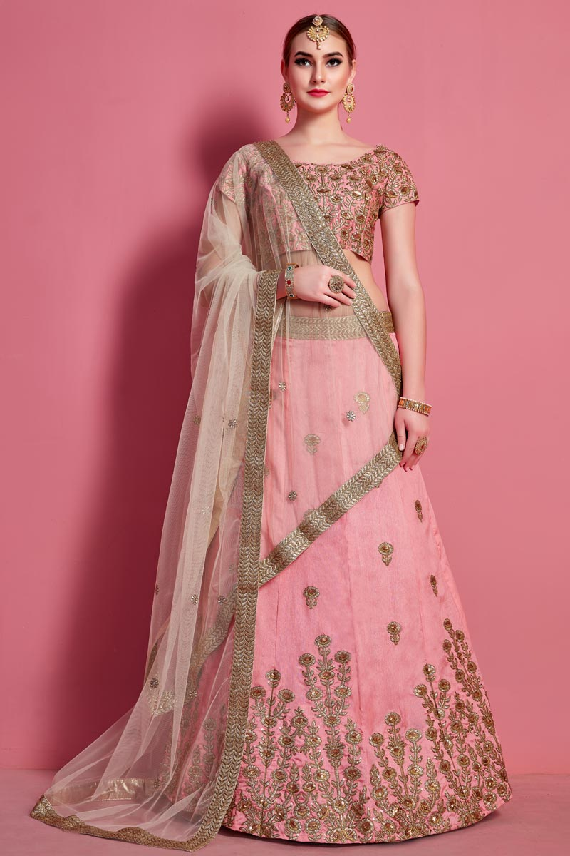 Pink Color Art Silk Fabric Sangeet Wear Lehenga