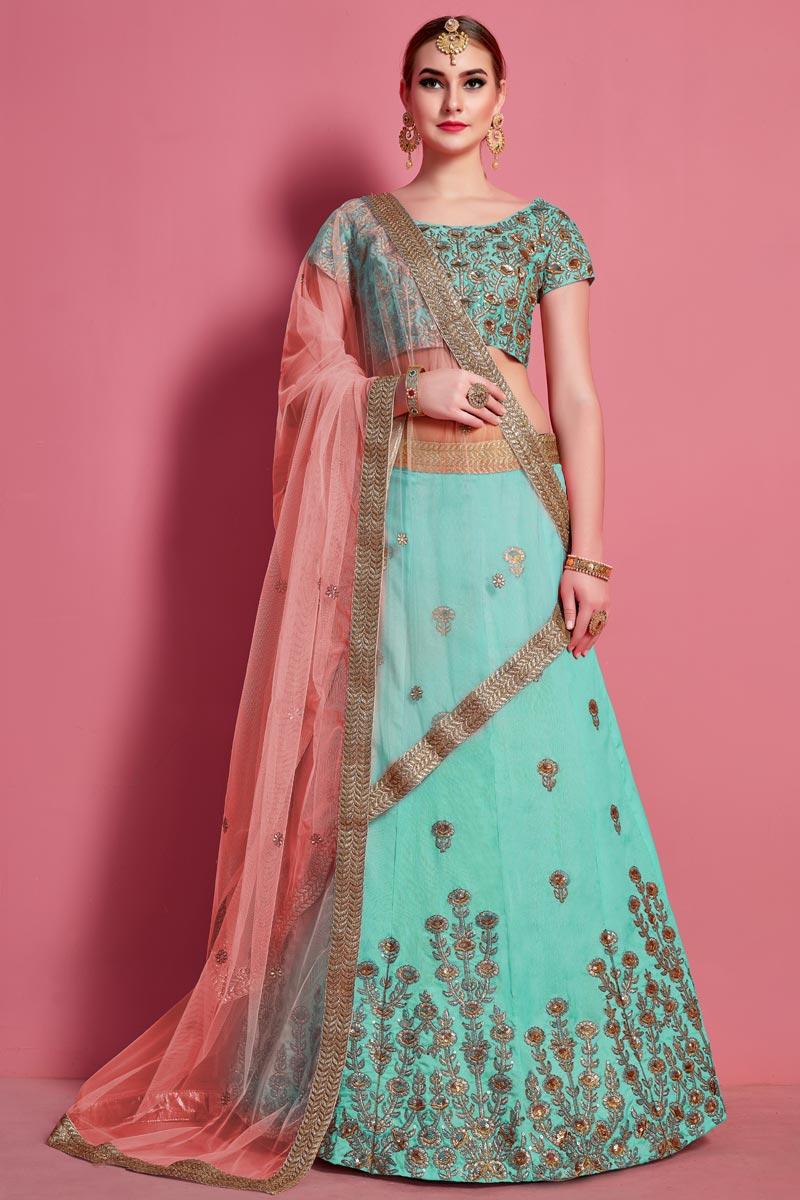 Art Silk Fabric Sea Green Color Designer 3 Piece Lehenga Choli
