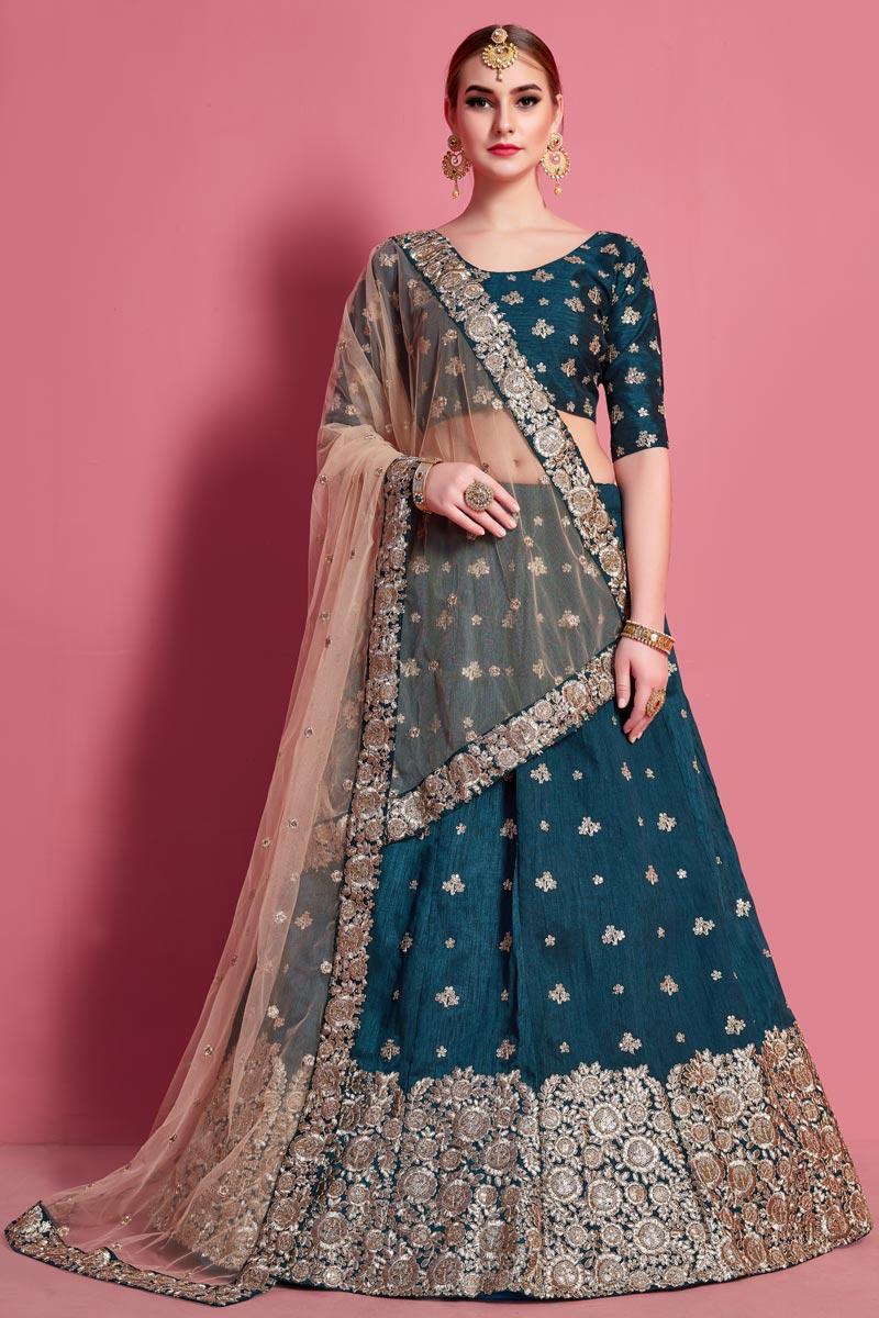 Teal Color Embroidery Work Art Silk Fabric Wedding Wear Lehenga