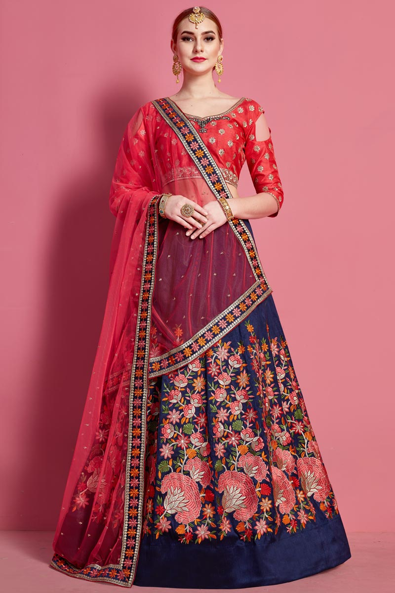 Embroidery Work Designs Art Silk Fabric Navy Blue Color Wedding Wear Lehenga
