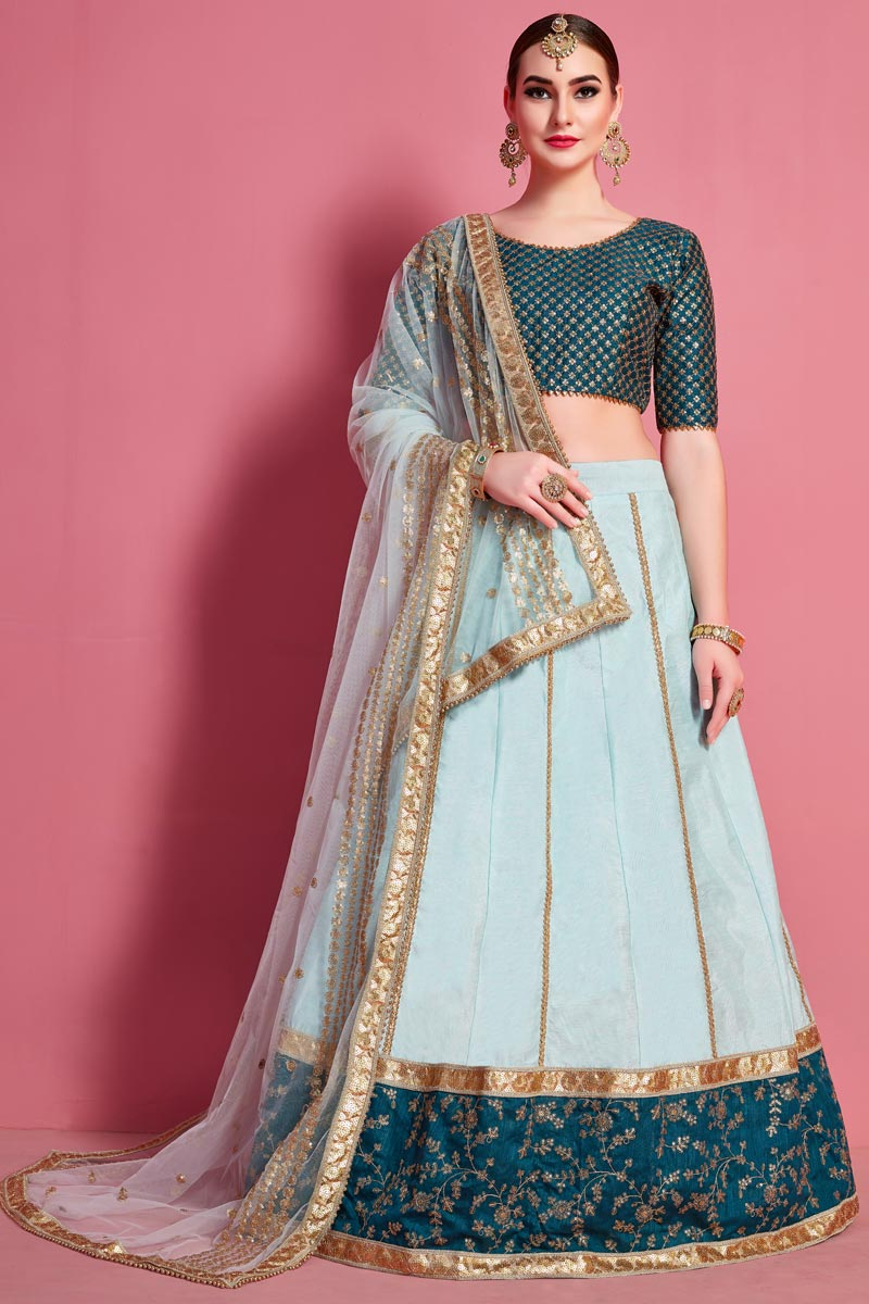 Art Silk Fabric Sea Green Color Occasion Wear Lehenga Choli