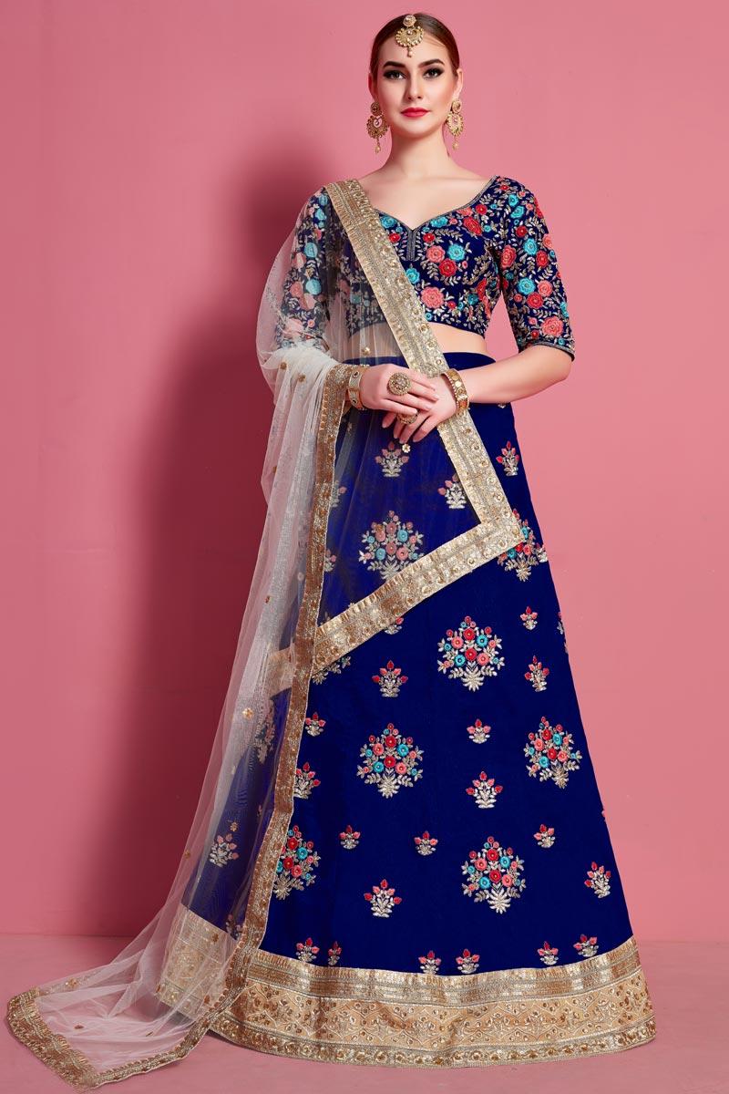 Blue Color Designer Lehenga Choli In Art Silk Fabric