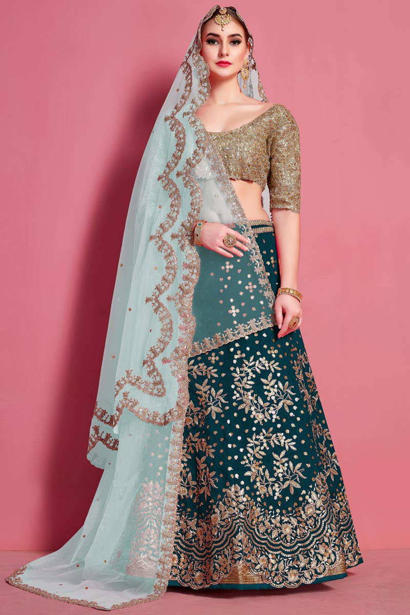 Embroidery Work Occasion Wear Lehenga In Teal Color