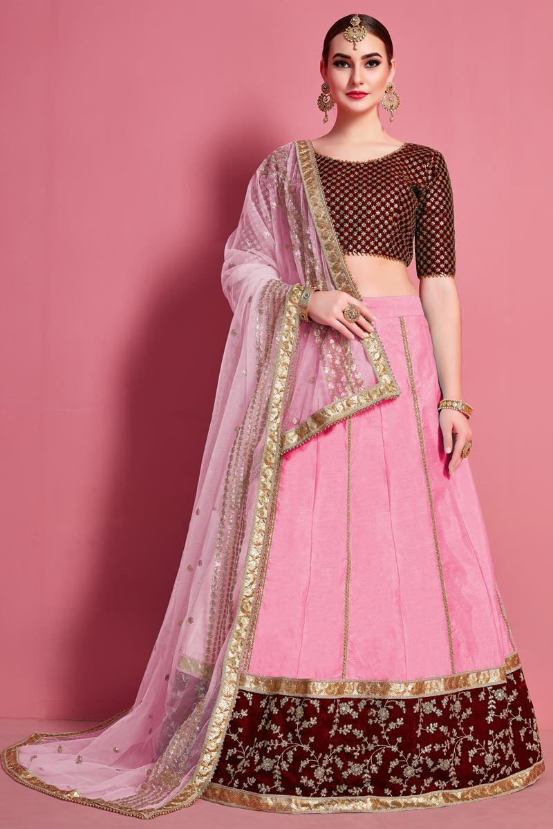 Pink Color Designer Embroidered Lehenga Choli