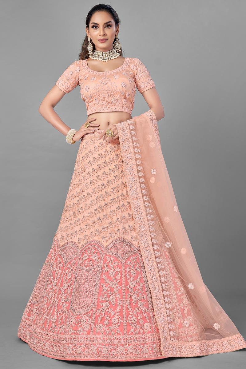 Net Fabric Reception Wear Thread Embroidered Lehenga Choli