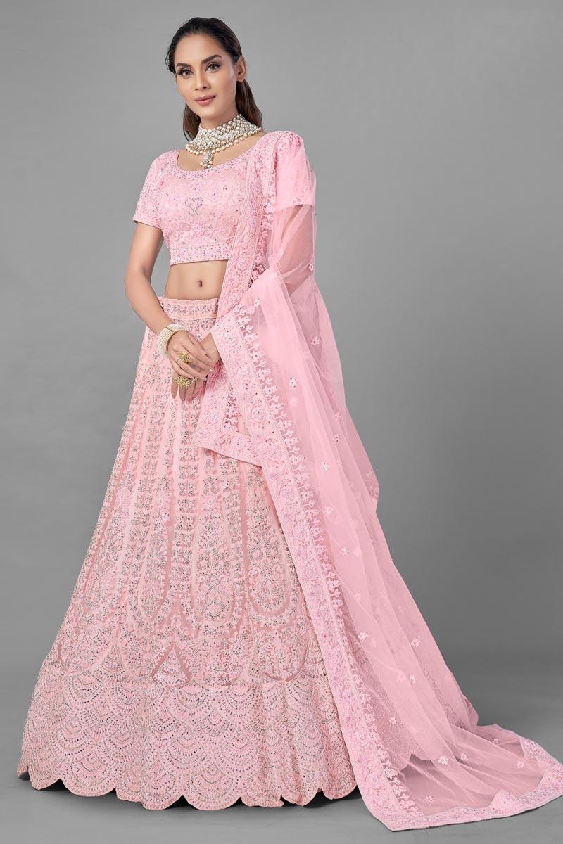 Wedding Wear Thread Embroidered Lehenga Choli In Pink Color Net Fabric