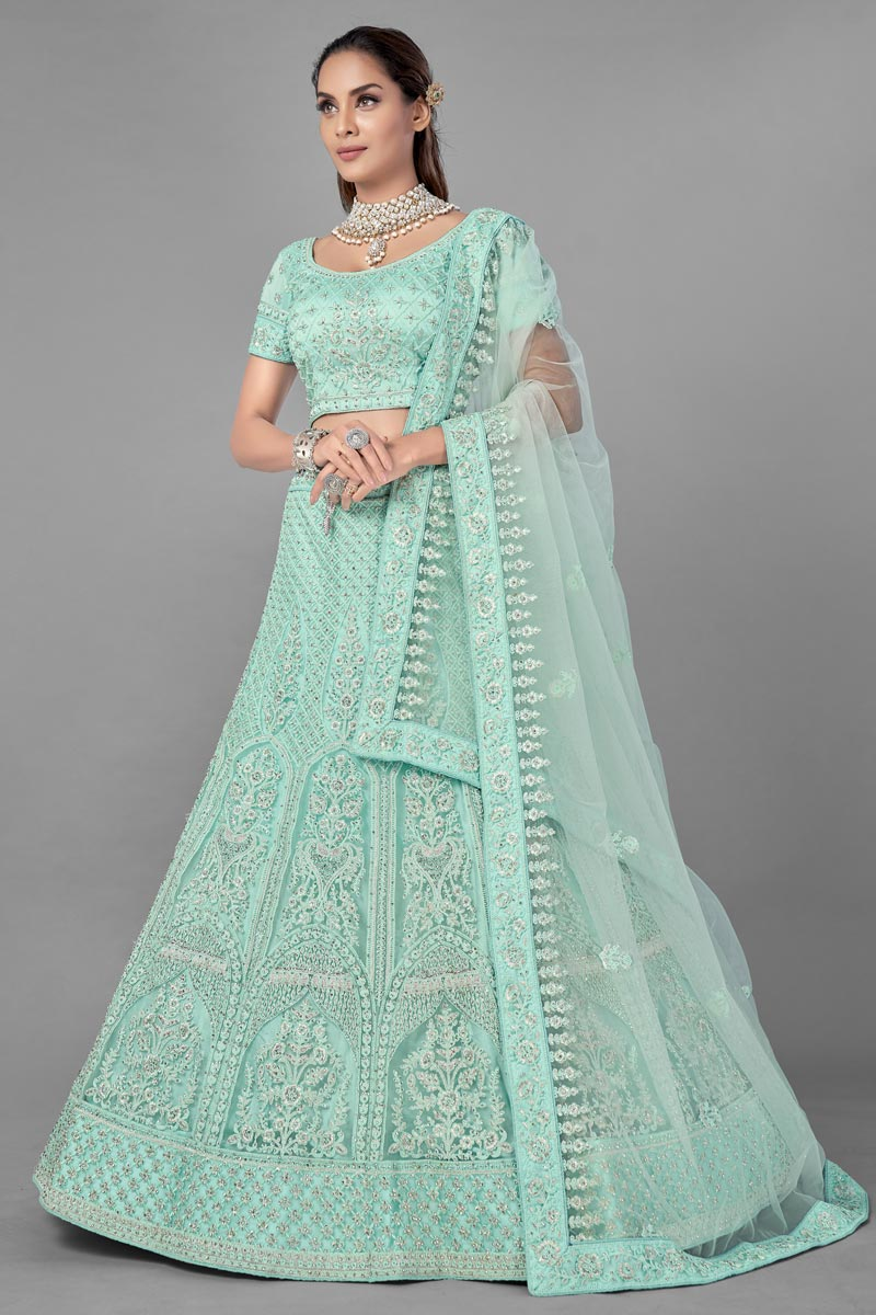 Sea Green Color Net Fabric Sangeet Wear Thread Embroidered Lehenga Choli