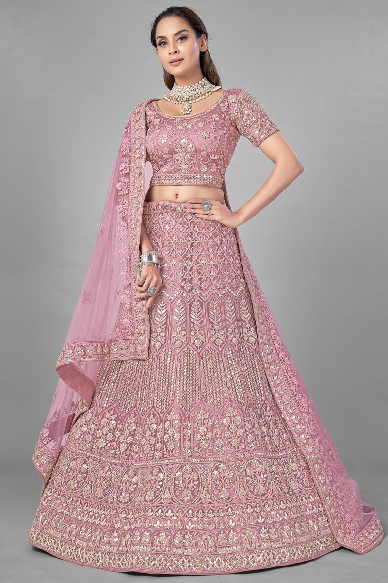 Net Fabric Pink Color Designer 3 Piece Lehenga Choli