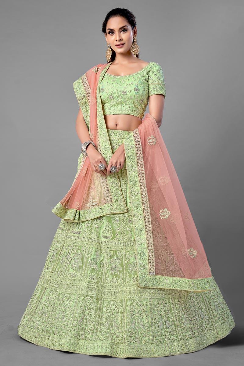 Sea Green Color Thread Embroidered Net Fabric Wedding Wear Lehenga Choli