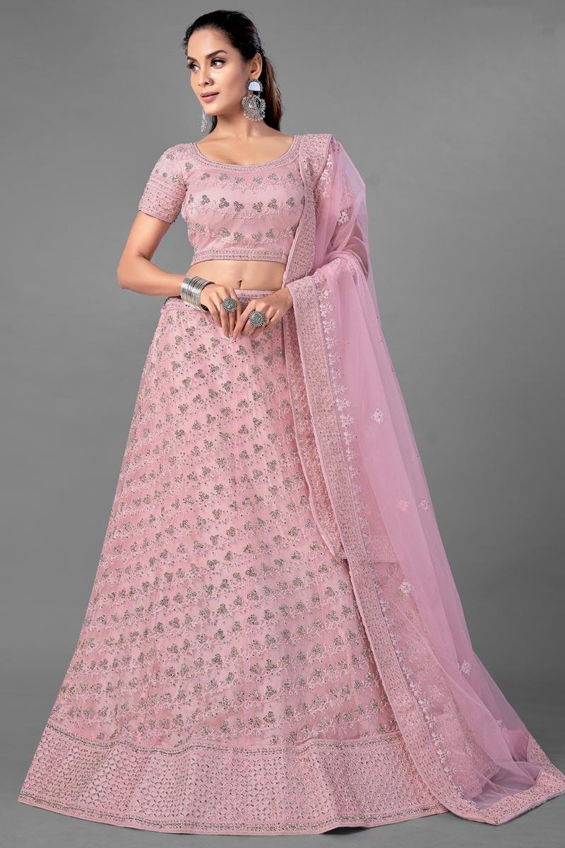 Pink Color Net Fabric Thread Embroidered Reception Wear Lehenga Choli