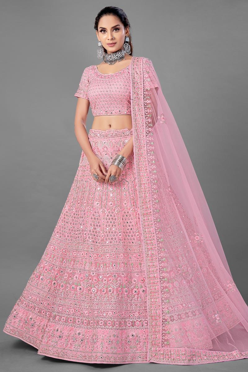 Thread Embroidered Designs Net Fabric Pink Color Wedding Wear Lehenga Choli