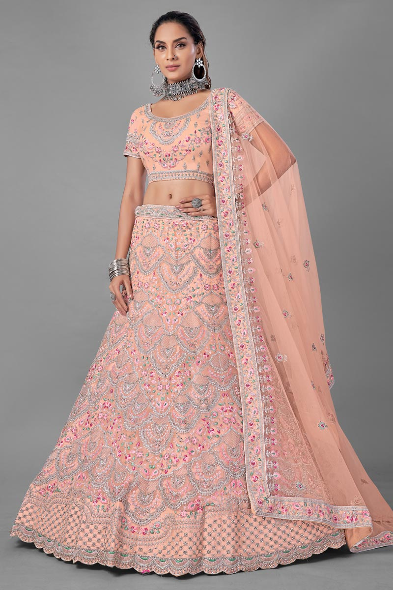 Net Fabric Peach Color Wedding Wear Thread Embroidered Lehenga Choli