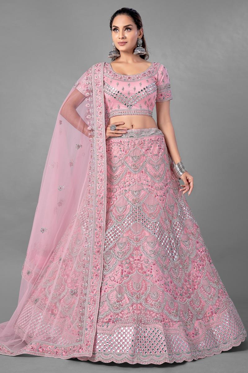 Pink Color Designer Thread Embroidered Lehenga Choli In Net Fabric