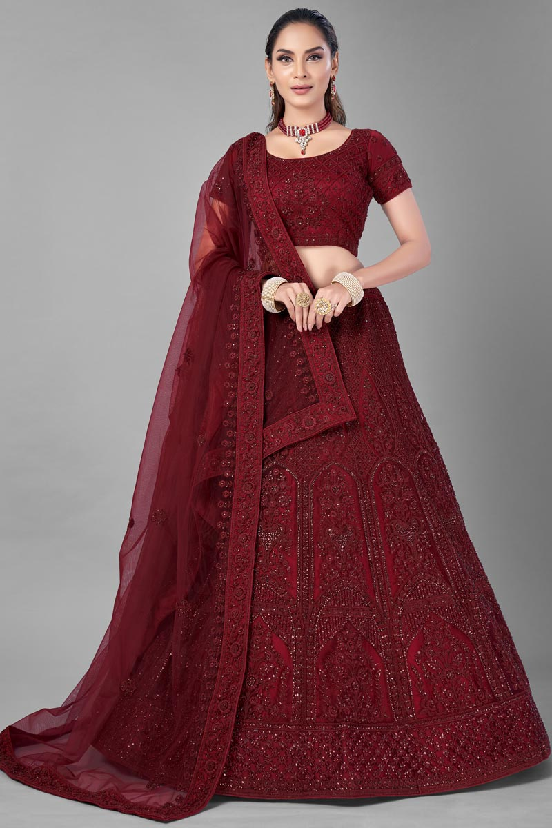 Thread Embroidered Wedding Wear Lehenga Choli In Maroon Color