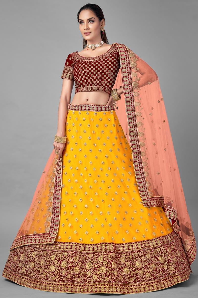 Yellow Color Designer Thread Embroidered Lehenga Choli