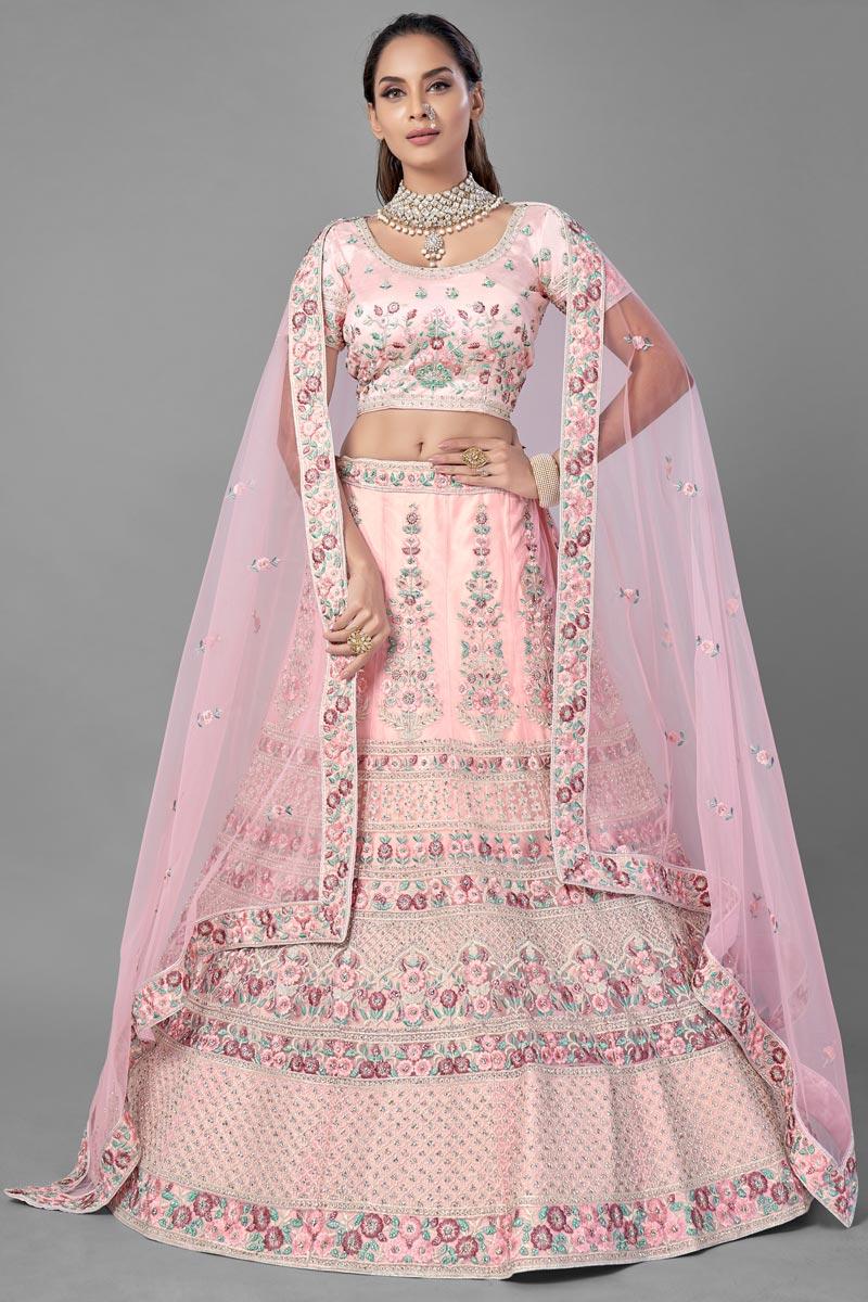 Thread Embroidered Net Fabric Reception Wear Lehenga Choli
