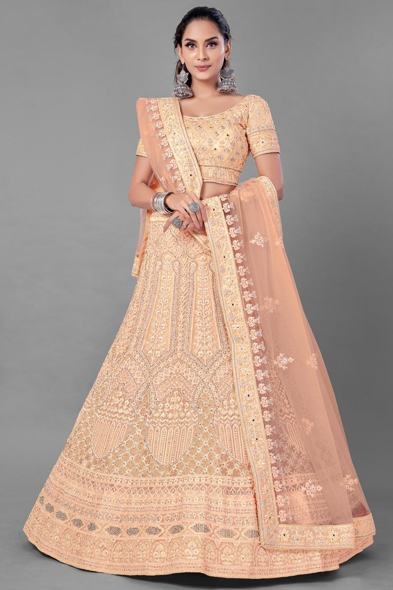 Peach Color Net Fabric Wedding Wear Thread Embroidered Lehenga Choli