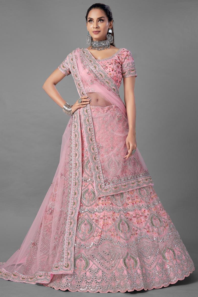 Wedding Wear Pink Color Thread Embroidered Lehenga Choli