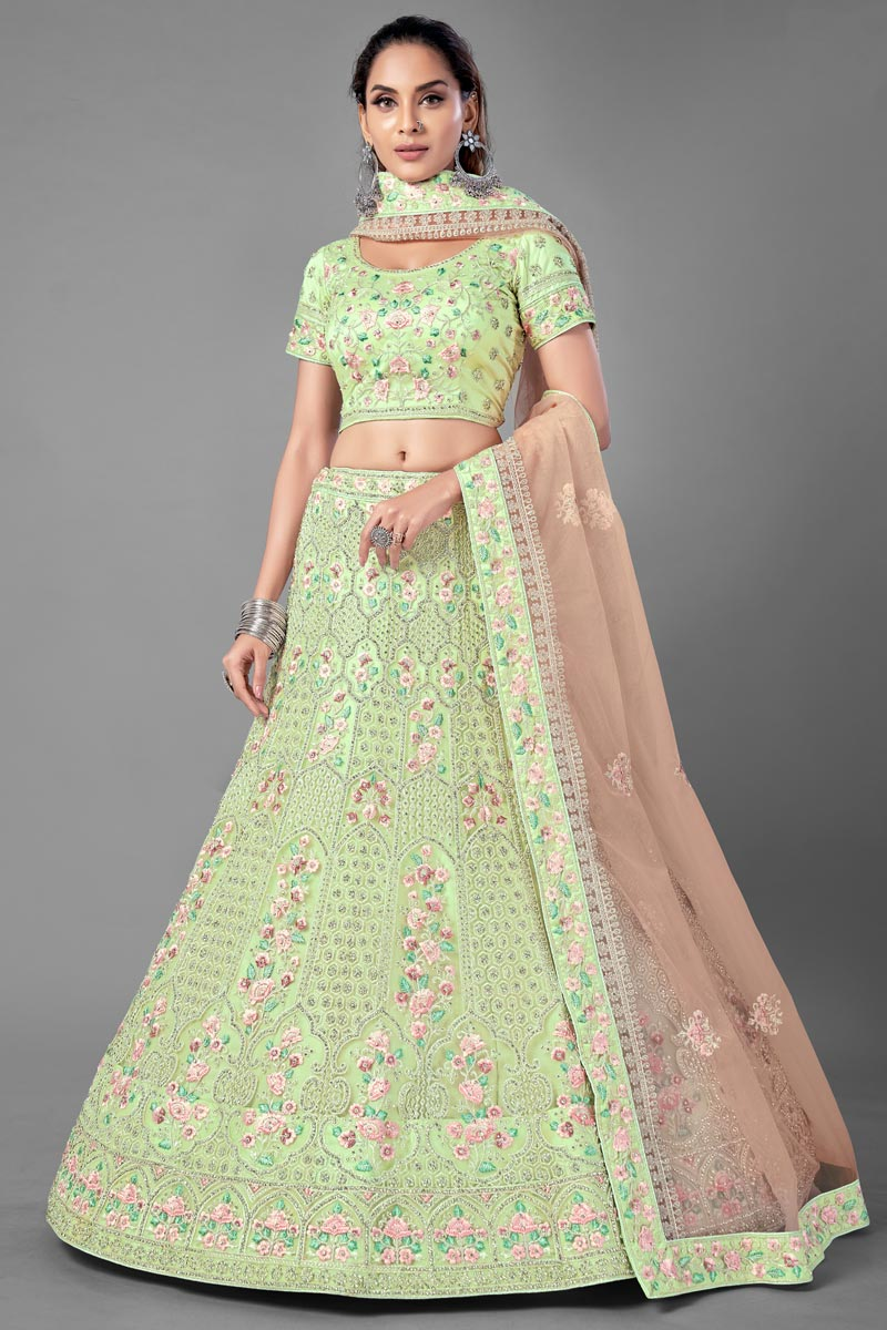 Thread Embroidered Sea Green Color Net Fabric Sangeet Wear Lehenga Choli