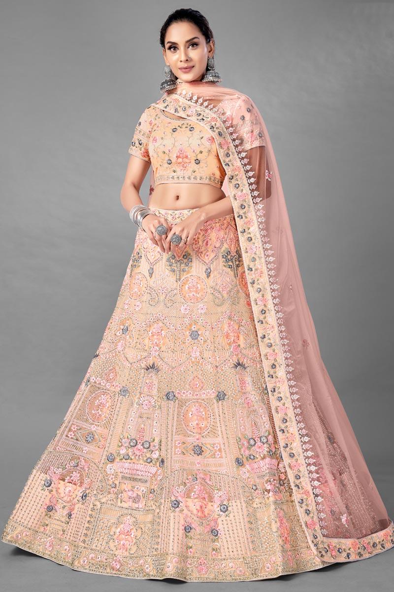 Net Fabric Peach Color Sangeet Wear 3 Piece Thread Embroidered Lehenga Choli