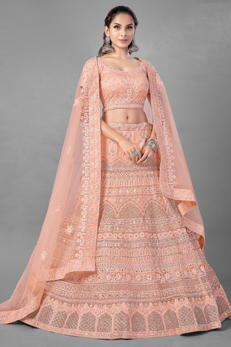 Peach Color Thread Embroidered Designer Wedding Wear Net Fabric Lehenga Choli