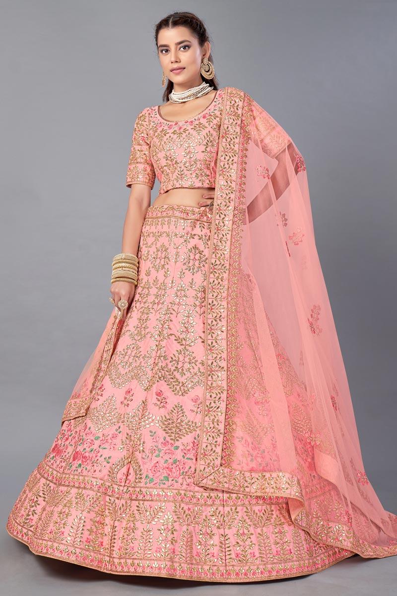 Art Silk Fabric Reception Wear Thread Embroidered Lehenga Choli