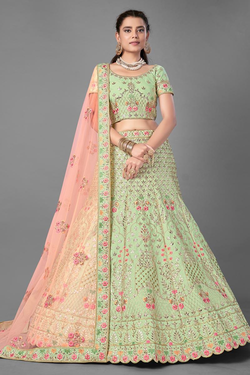 Art Silk Fabric Wedding Wear Thread Embroidered Lehenga Choli